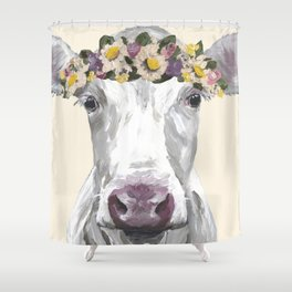 Cow With Flower Crown, Cute Cow Up Close Shower Curtain