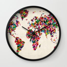 Butterflies Map of the World Map Wall Clock