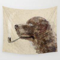 labrador Wall Tapestries featuring hello labrador by bri.buckley