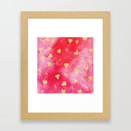 Red And Gold Watercolor Hearts Textures And Patterns Framed Art Print
