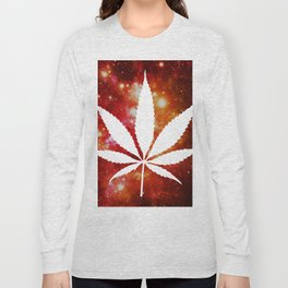 Weed : High Times Orange Red Pink Galaxy Long Sleeve T-shirt