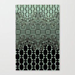 floral border with geo mix in light steel Canvas Print