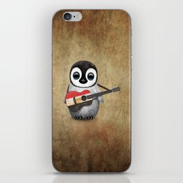 Baby Penguin Playing Egyptian Flag Acoustic Guitar iPhone Skin