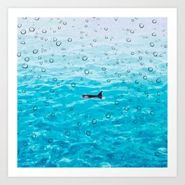 Orca Whale gliding through the water on a rainy day Art Print
