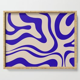 Modern Liquid Swirl Abstract Pattern Square in Cobalt Blue Serving Tray