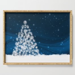 Blue Christmas Eve Snowflakes Winter Holiday Serving Tray