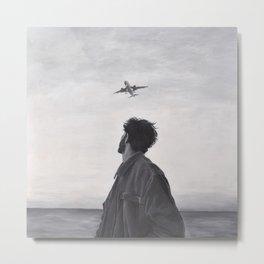 Man watching plane Metal Print