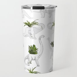 Dino and Cacti on White Travel Mug