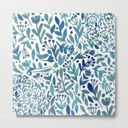 Watercolor blue plants Metal Print