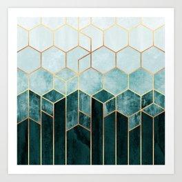 Teal Hexagons Art Print