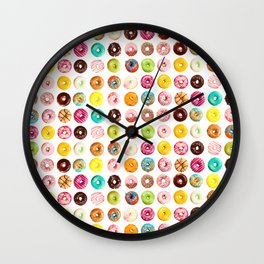 Funny Pattern With Juicy And Tasty Donuts Wall Clock