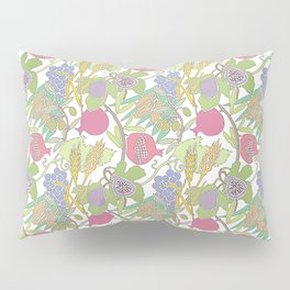 Seven Species Botanical Fruit and Grain with Pastel Colors Pillow Sham