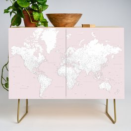 World map, highly detailed in dusty pink and white, square Credenza