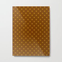 Amber Orange on Chocolate Brown Snowflakes Metal Print