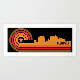 Retro New Haven Connecticut Skyline Art Print