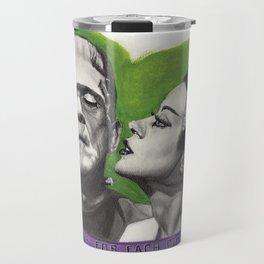 Watercolor Painting of Frankenstein & Bride Travel Mug