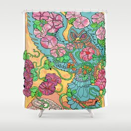 An Owl in Mourning Glory Shower Curtain