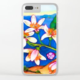 Branch of a lemon tree in spring Clear iPhone Case