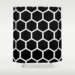 Honeycomb pattern - Black and White Shower Curtain