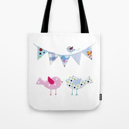 Birds with party flags Tote Bag