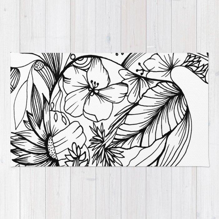 Corazón Con Flores Blanco Y Negro Rug By Monbaltazar Society6