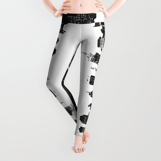 New York black and white high quality art print Leggings