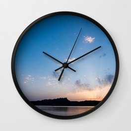 Sunset on the Beach of Rena di Ponente, Sardinia Island, Italy. Wall Clock