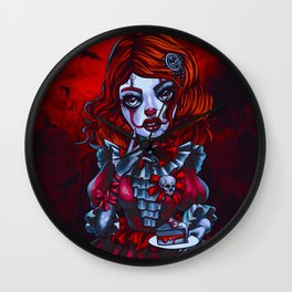 Creepy It Clown Girl (Painting) Wall Clock