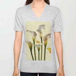Ivory Calla Lilies Yellow Butterflies Unisex V-Neck