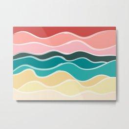 Vintage 50s Palette Mid-Century Minimalist Waves Abstract Art Metal Print