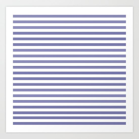 Blue- White- Stripe - Stripes - Marine - Maritime - Navy - Sea - Beach - Summer - Sailor 2 Art Print