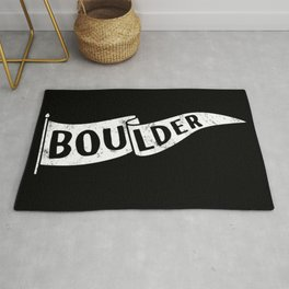 Boulder Colorado Pennant Flag B&W // University College Dorm Room Graphic Design Decor Black & White Rug