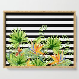 Tropical Chic Florals And BW Stripes Serving Tray