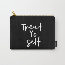 Treat Yo Self black-white contemporary minimalist typography poster home wall decor bedroom Carry-All Pouch