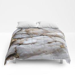 White Quartz with Gold Veining Comforters