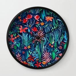 Tropical Ink - a watercolor garden Wall Clock