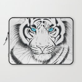 White Bengal tiger Blue Eyes Ink Art Laptop Sleeve