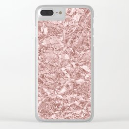 Rose Gold Glittering Foil Texture Clear iPhone Case