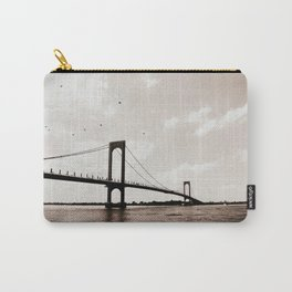Flying Over the Whitestone Bridge, New York City Carry-All Pouch