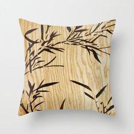 Japanese bamboo buddha wood art Throw Pillow