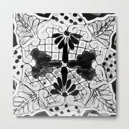 Black and White Talavera Pottery Two Metal Print