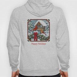 Red Cardinals and Christmas Bird Feeder Hoody