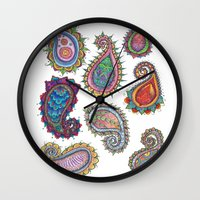 paisley Wall Clocks featuring Paisley by WelshPixie