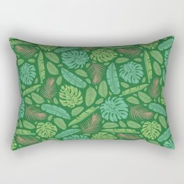 Tropical leaves mix on green background Rectangular Pillow