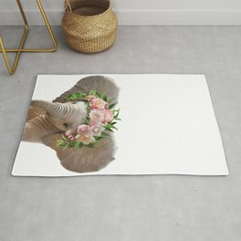 Baby Elephant With Flower Crown, Baby Animals Art Print By Synplus Rug