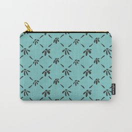 Floral Geometric Pattern Chocolate Brown Aqua Sky Carry-All Pouch