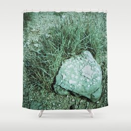 GREEN PICTURE OF A ROCK Shower Curtain