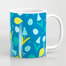 Easter Eggs and Blue Flower Pattern Coffee Mug
