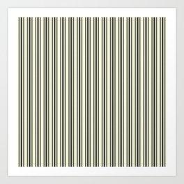 Large French Beige Mattress Ticking Black Double Stripes Art Print