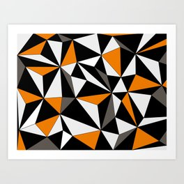 Geo - orange, gray, black and white. Art Print